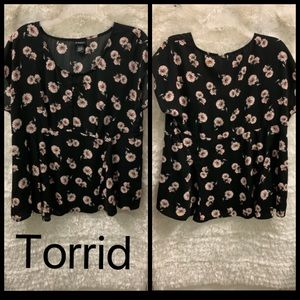 Torrid | Black & Pink Flowers